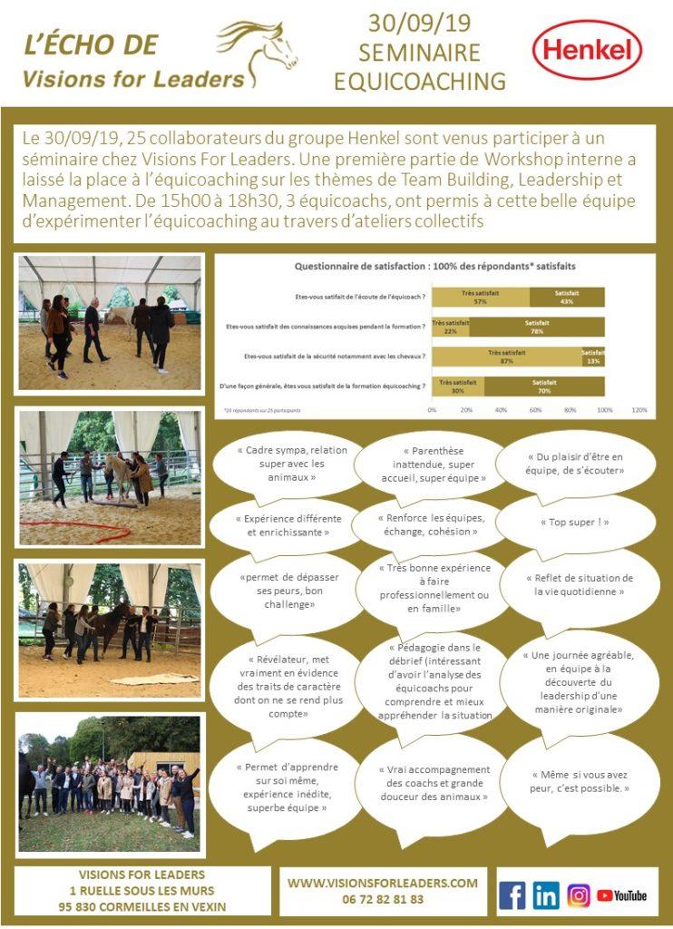 L'Echo Visions For leaders Séminaire équicoaching Teambuilding Henkel